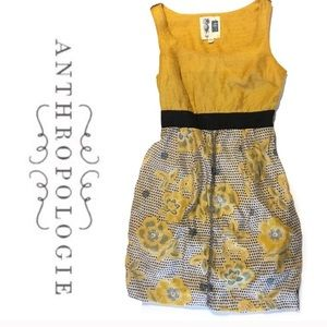 Anthropology Edme & Esyllte Mustard Yellow Dress